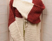 Sweater Jacket hand crochet Merino Wool