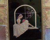 antique frame vintage picture ballerina white tutu dress toe shoes roses window seat