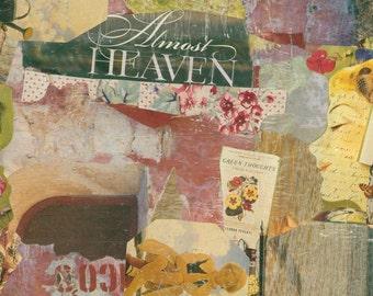 print, original collage, detailed work, original art, happy art,  signed, almost heaven by virginia proffit crane
