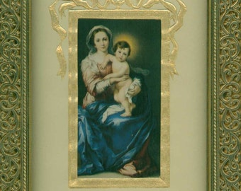 Print of a framed picture  Mary and the Christ Child in Golden frame 8 by 10 or 11 on heavy card stock