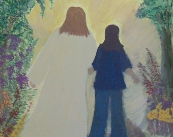 print of original painting by Virginia Proffit Crane  8 by 11Walking with Jesus