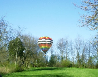 Print of  Photo air baloon flying low over my backyard summer day