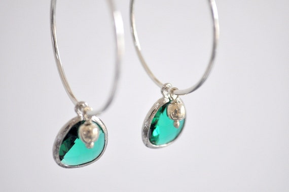 Silver and emerald glass earring hoops
