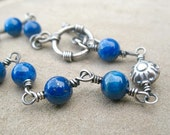 Blue Lapis Bracelet Sterling Silver Jewelry Wire Wrapped