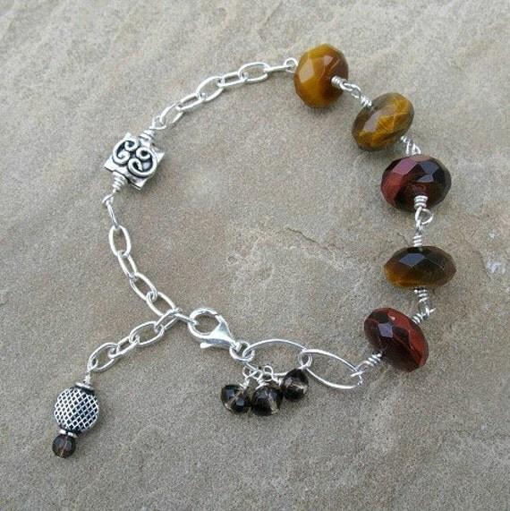 Tiger Eye Bracelet Sterling Silver Semiprecious Gemstone Jewelry