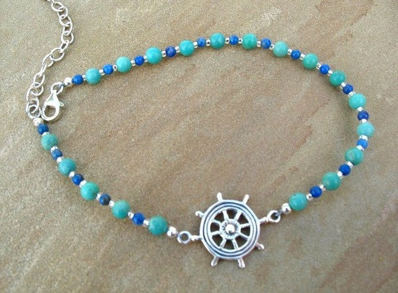 Nautical Anklet, Turquoise Beach Jewelry, Lapis, Sterling Silver Adjustable Anklet