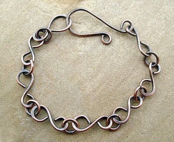 Copper Chain Bracelet Handcrafted Chain Oxidized Jewelry
