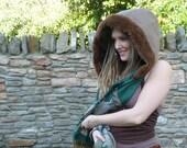 Luxury Hooded Scarf, Pixie Snood, Pashmina fluffy hood