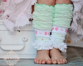 Girls Ruffly Legwarmers in Mint Green