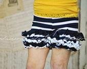 Girls Ruffle Shorts in Navy and White Stripe Nautical Size 7-10