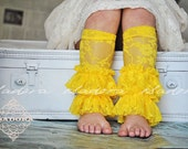 Girls Lace Ruffle Leg Warmers in Lemon Yellow