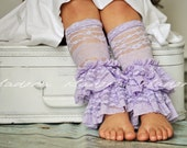 Double Ruffle Lace Legwarmers in Lavender