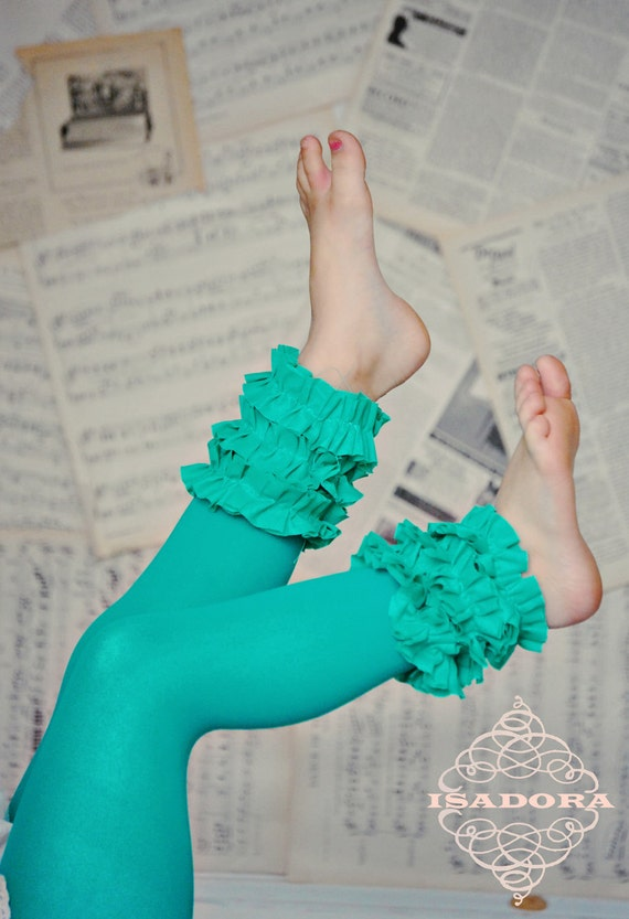 Girls Footless Ruffle Tighs in Turquoise