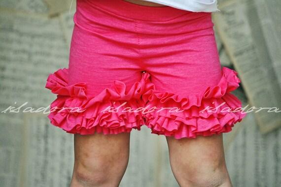 Girls Ruffle Shorts in Hot Pink