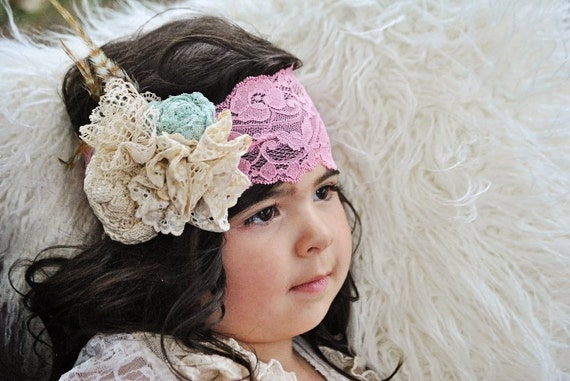 Girls Flower and vintage lace Headband In The Country