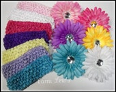 Baby flower headband set of six, flower hair clips