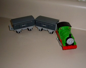 Vintage Nylint Thomas the Tank Engine PERCY with Two Foolish Freight Cars, 1992 Model no. 8857