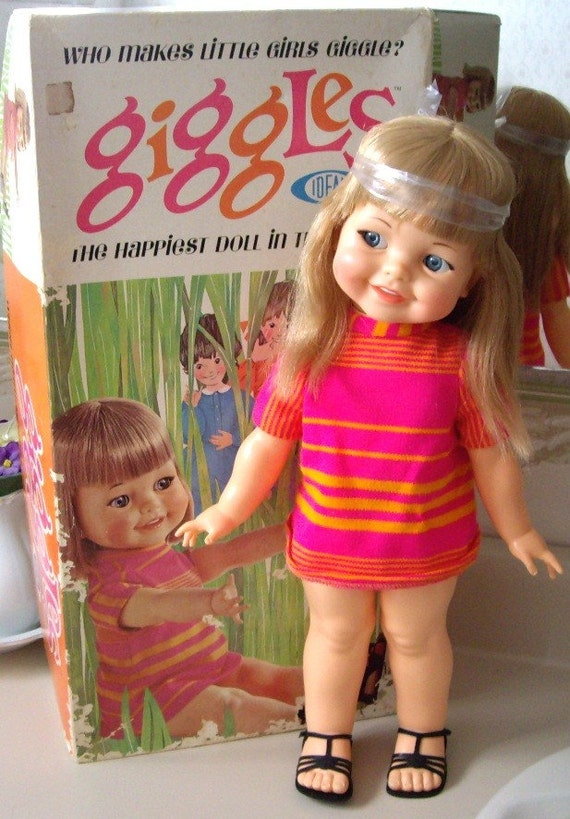 Ideal Giggles Doll From 1966 Mint In Box Still Giggles And