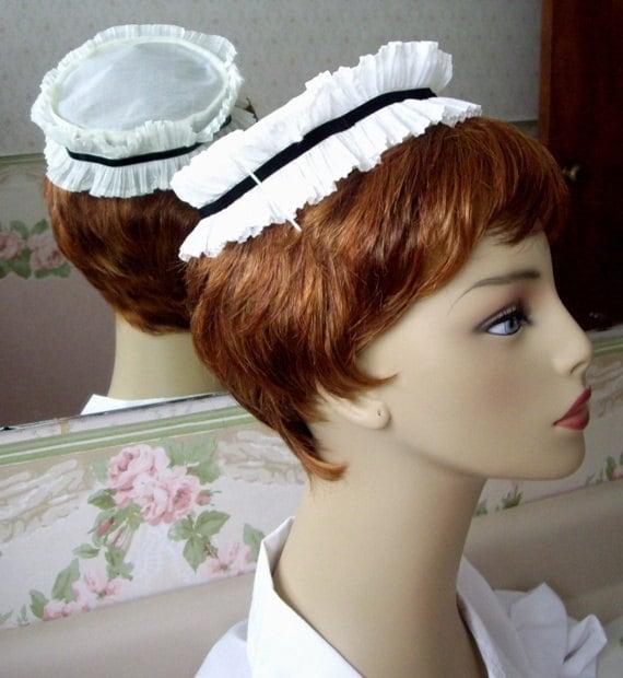 Vintage Nurse's Cap, Hat, 1970s, White with Black Stripe