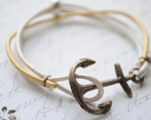 SALE-Summer Bracelet No.14- Antiqued brass Anchor clasp, suede, gold and white leather