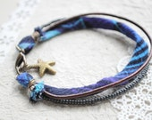 Summer Bracelet No.31-- Fabric bracelet with Japanese seed beads and starfish charm