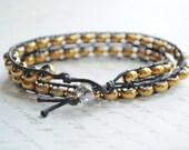 SALE- Double wrap Bracelet-- Double wrap Golden Boho bracelet with czech glass beads and waxed linen cord.