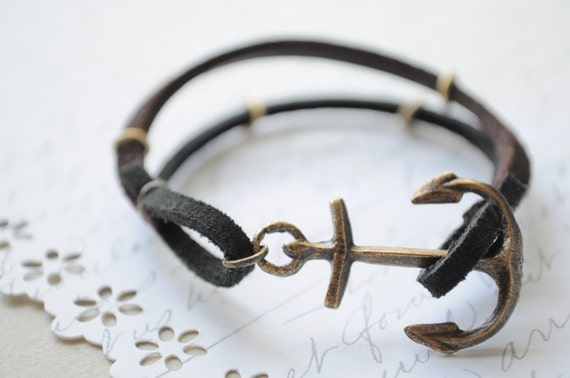 RESERVED--SALE--Summer Bracelet No.24-- Dark suede and leather anchor clasp bracelet