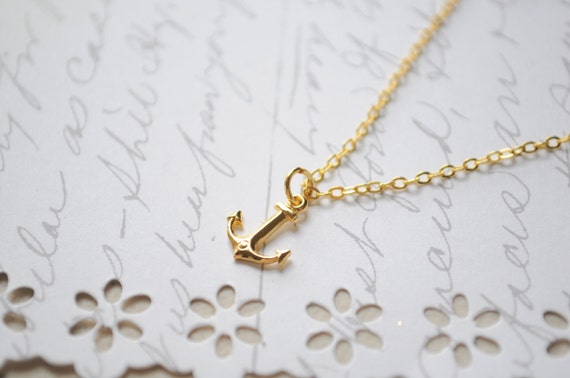 Summer Necklace-- Anchor Necklace  Itsy Bitsy gold anchor charm