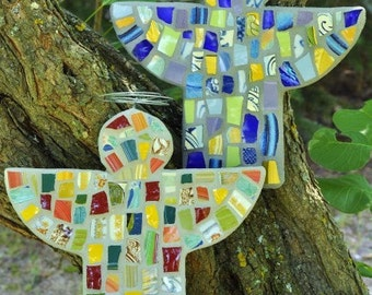 Custom Whimsical Mosaic Guardian Angel with Repurposed Broken China MADE TO ORDER