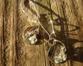 Aquamarine Sterling Silver Earrings natural shell blue dangle pierced gift unique