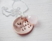 Quirky -It is what it is popular quote handstamped copper necklace with pink chalcedony stone