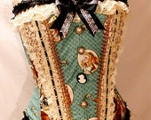 Cameo Alice In Wonderland Steampunk Corset reserved for simba026