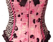 Hello Kitty and Zebra print corset by Kawaii Parlor
