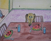 "Dachshund Eating Spaghetti ACEO - ""Spaghetti Snatcher"""