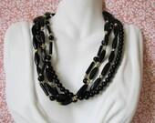 Vintage Black Mutli Strand Necklace,Vintage Beaded Necklace,Vintage Beads
