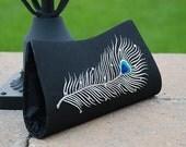 Threadpoets Peacock Clutch Bag: Black