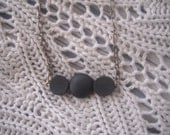 Matte Black Onyx and Wood Necklace