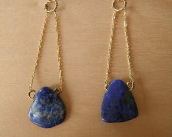 Lapis Hanging Chain Earrings