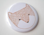 SALE Fox Pocket Mirror - illustrated head face white bright mothers day birthday gift Christmas stocking filler purse hand bag handbag