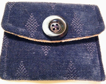 Small Wallet Gift Card Holder Money Holder Pouch  Blue and Tan Fabric