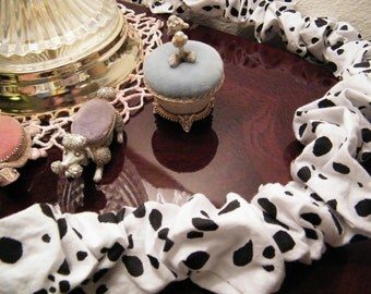 Cord Cover Black and White Spotted 5 feet 7 1/2 inches long all cotton Easy Care