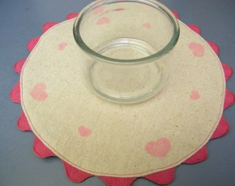 Hand Stenciled Pink Hearts on Osnaburg Doily Lamp Candle Mat with Hot Pink Jumbo Ric Rac Trim