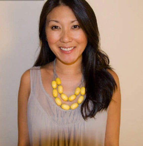 yellow wooden bib necklace