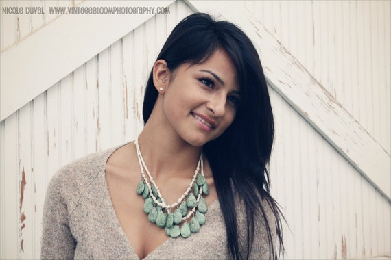 aged robins egg / olive green and cream bib statement necklace