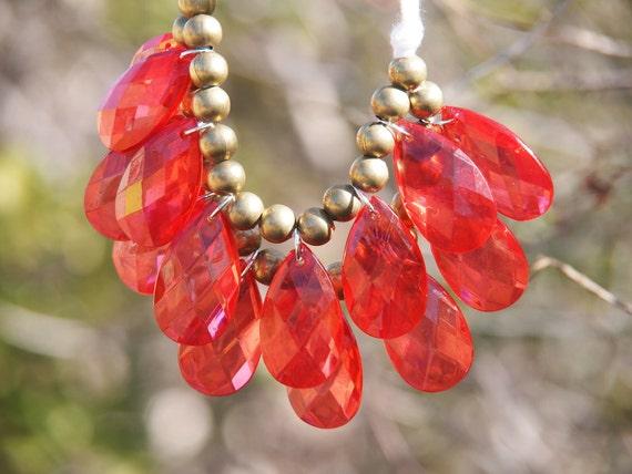 red anthropologie inspired bib statement necklace