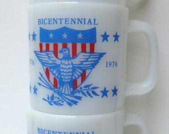 Glasbake Bicentennial Milk Glass Mugs