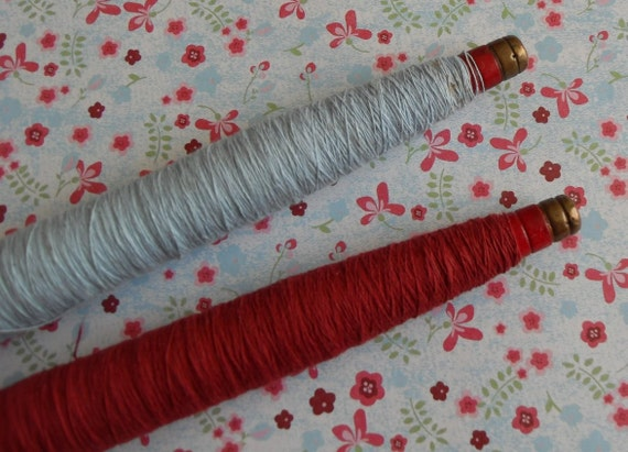 Red Wooden Vintage Thread Spools Set of 2