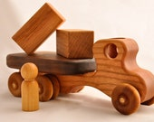 Wooden Toy Flatbed Truck Organic Cherry and Walnut With All Natural Finish