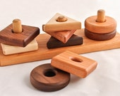 Wooden Toy Shape Sorter in Cherry (Developmental, Montessori, Natural, Wood Toy)
