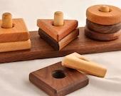 Stacking Toy Developmental Shapes Stacker Organic Walnut